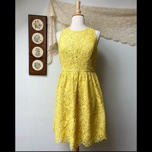 Shoshanna • Yellow Lace Floral Midi Dress